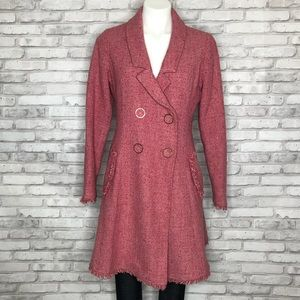 CAbi Madison Ave pink tweed peacoat, size 8